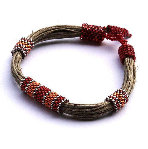 African jewelry Summer Bracelet, Linen Jewelry Ethnic Bracelet, Red Bracelet, Organic Jewelry, Designer Bracelet, Seed Bead Bracelet #pooloutfitideas