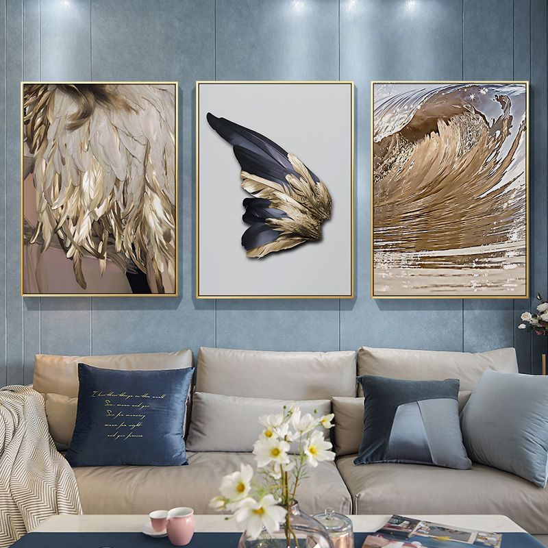 Abstract Marble Golden Wings Canvas Painting Modern Wall Art Poster Nordic Print