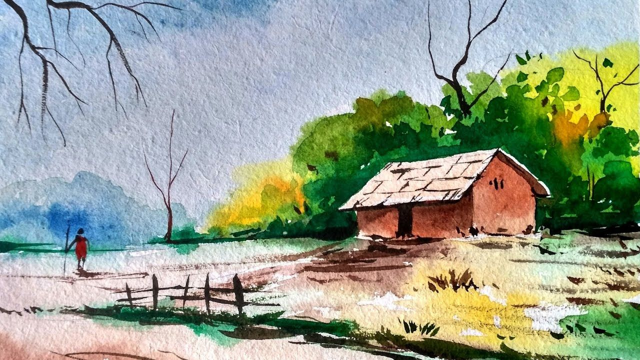Landscape Painting In Watercolor Speed Painting Watercolor Landscape Tutorial Watercolor Landscape Paintings Watercolor Landscape