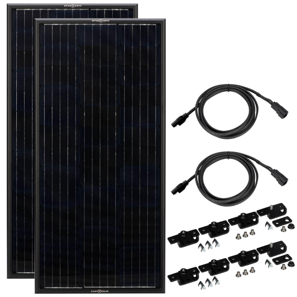 Obsidian 200 Watt Solar Panel Kit 2 X 100 Zamp Solar In 2020 Solar Panel Kits Solar Panels Solar Charging