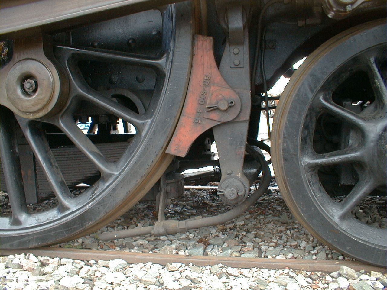 A brake shoe, seen here next to the large
