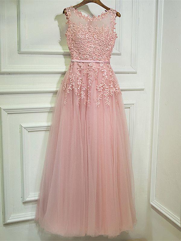 abendkleid abiballkleider lang rosa tüll spitze perlen