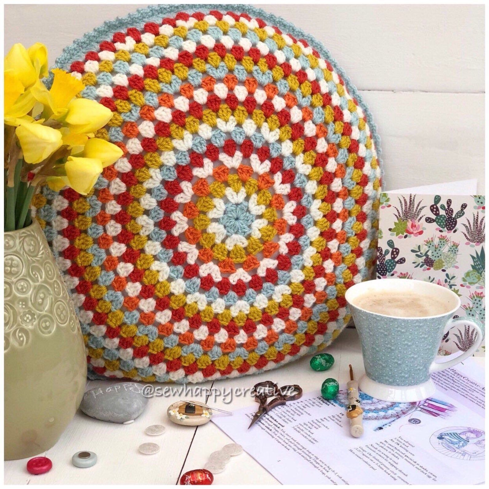 Crochet Pattern, Round Crochet Cushion, Crochet Pillow Pattern, Crochet Cushion pattern, PDF Pattern, PDF Crochet Tutorial Instant Download