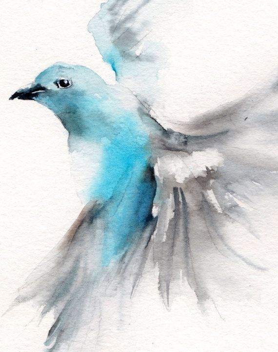 Fliegen Vogel Original Aquarell Vogel Malerei Von Canotstop