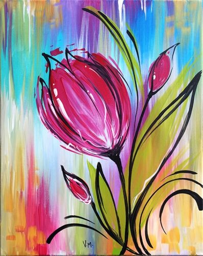 Whimsical tulip at the rock wood fired kitchen federal for Simple flower paintings for beginners