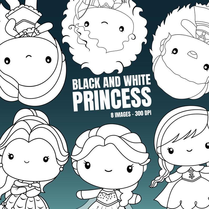 Princess Clipart Fantasy Clip Art Black And White Free Etsy Cute Animal Clipart Clip Art Animal Clipart