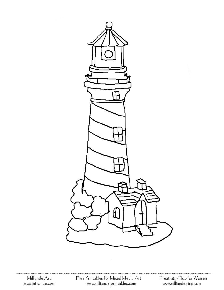 Line Art Lighthouse : Simple lighthouse printable coloring pages