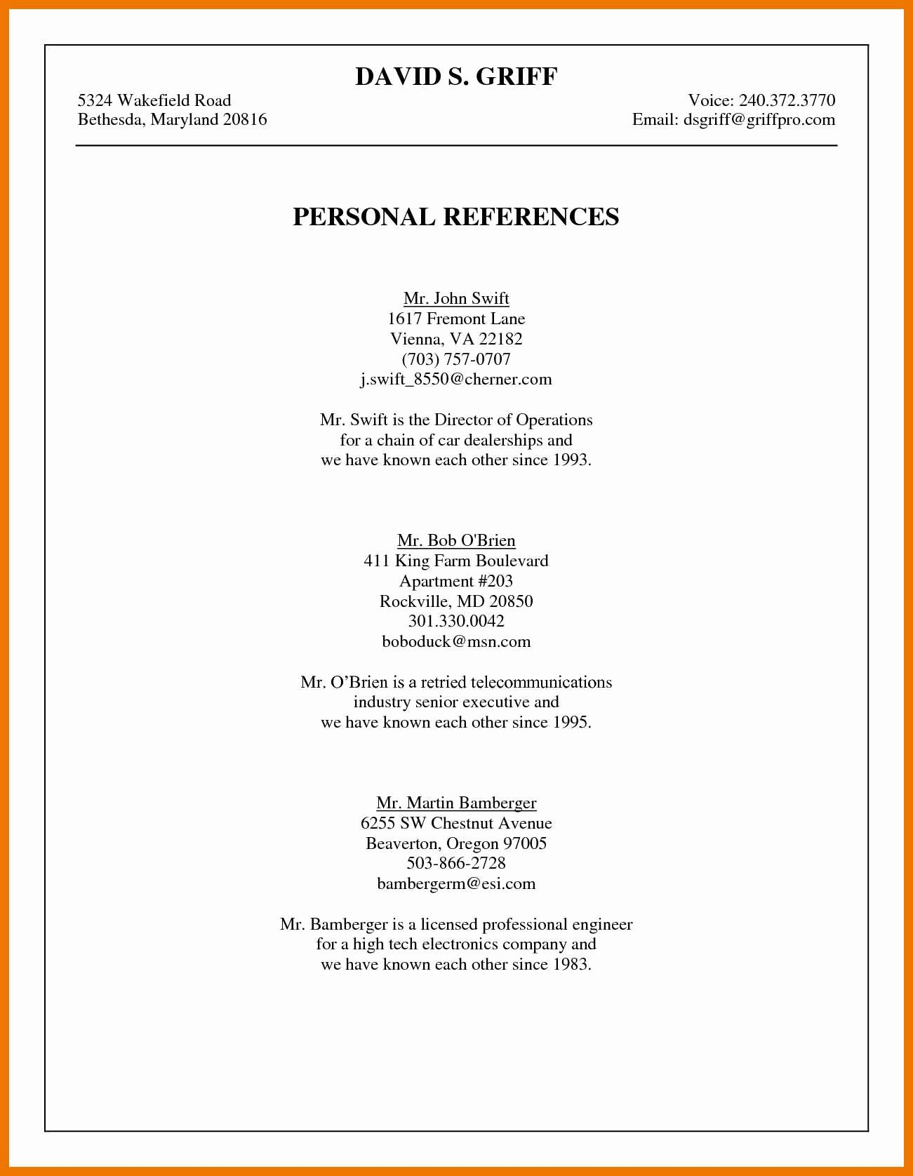 References Template for Resume Beautiful 10 List Of