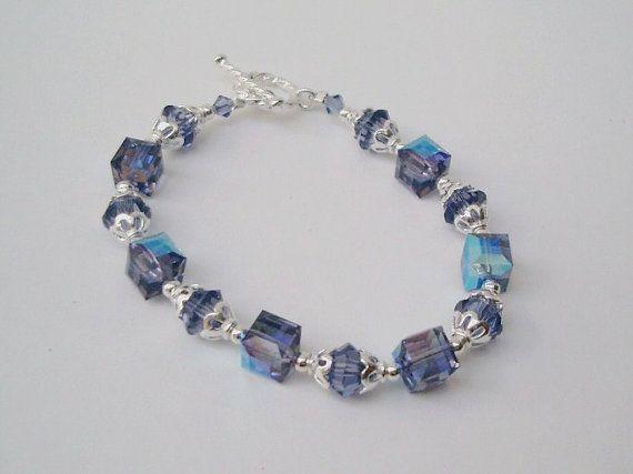 Blue Swarovski Crystal 7 5 Inch Bracelet Blue Bicone Beaded