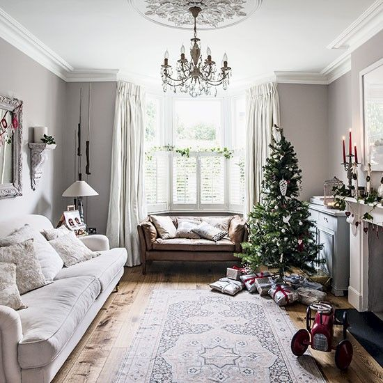 White Sofa Living Room Designs Photography Christmas Decorating Ideas For With Grey Walls Oak Flooring Curtains And Tree