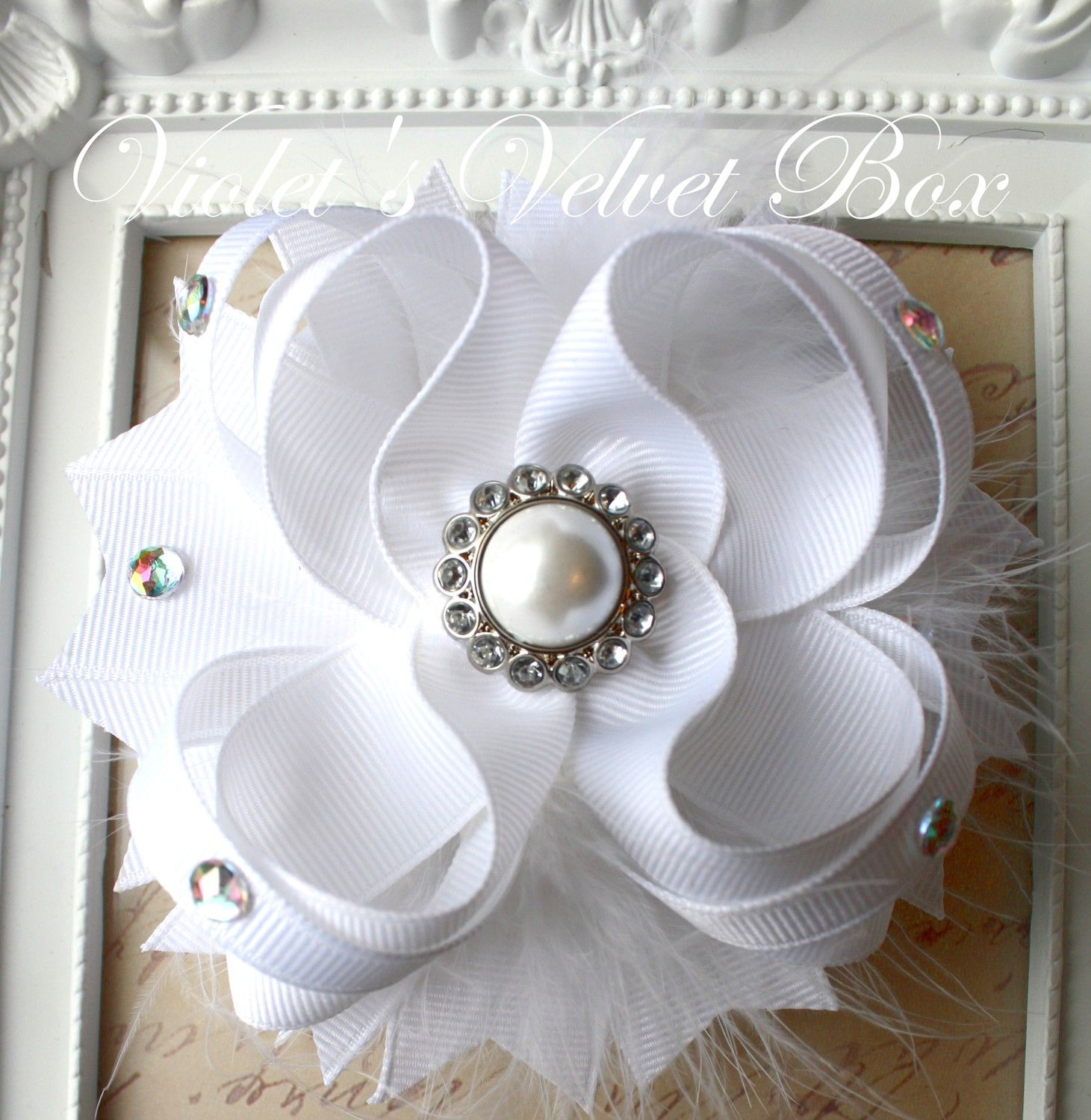 wedding white hair bow -luxurious boutique bow with pearls baptism