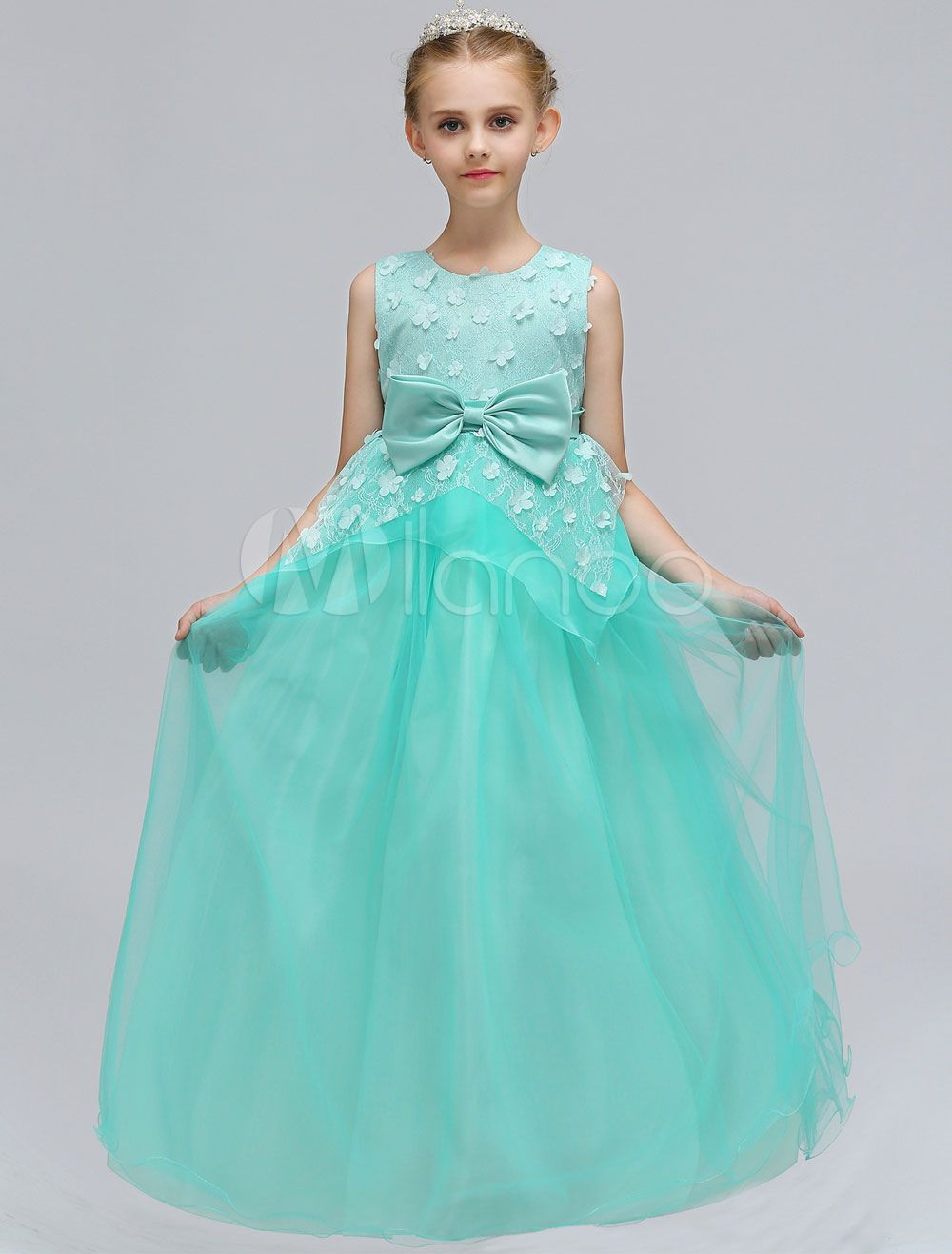 Flower girl dresses mint green tulle lace bows a line