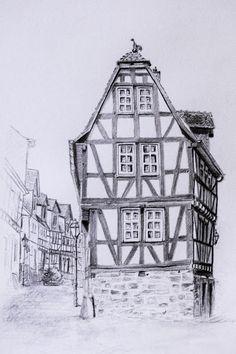 Urban sketching ländlich Fachwerk zeichnen Fachwerk