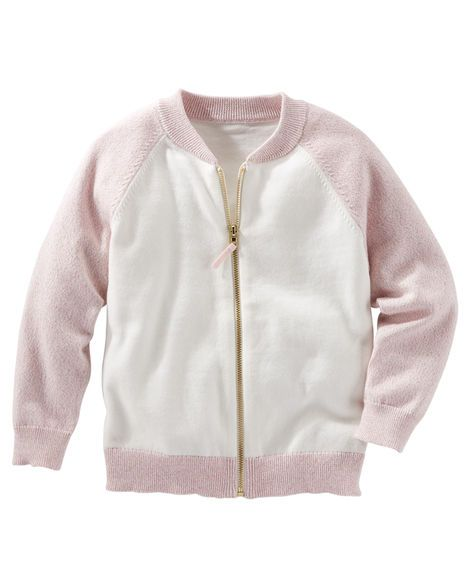 A little sporty with a hint of sparkle, this zip-front sweater-knit cardi covers all the bases when it comes to style.<br>