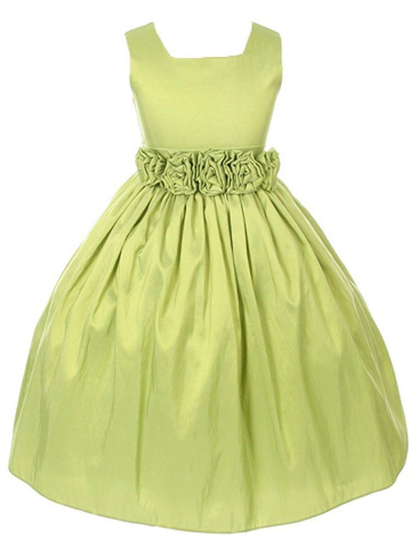 Sweet Kids Girls Sleeveless Flower Girl Dress With Rolled Flower