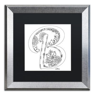 "Trademark Art 'Flower Girls' by KCDoodleArt Framed Graphic Art Matte Color: Black, Size: 16"" H x 16"" W x 0.5"" D"