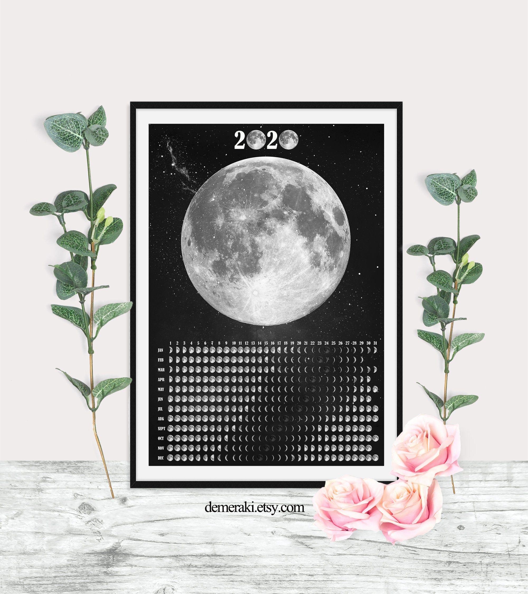 Moon Phases Wall Calendar 2021 Lunar Calendar Moon Phase Etsy Moon Wall Art Witch Art Lunar Calendar