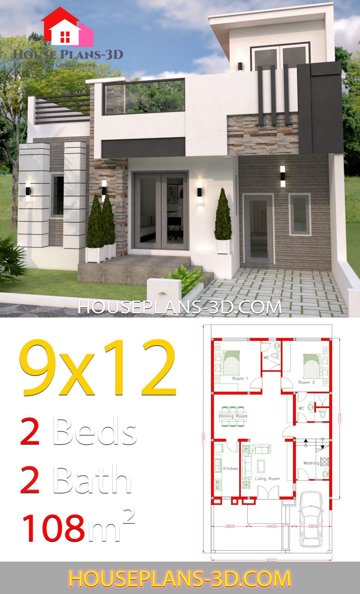 House Design 9x12 With 2 Bedrooms Full Plans House Plans 3d House Design Pictures House Designs Exterior Architectural House Plans