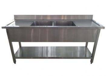 1.8m commercial stainless steel double bowl double drainer sink ...