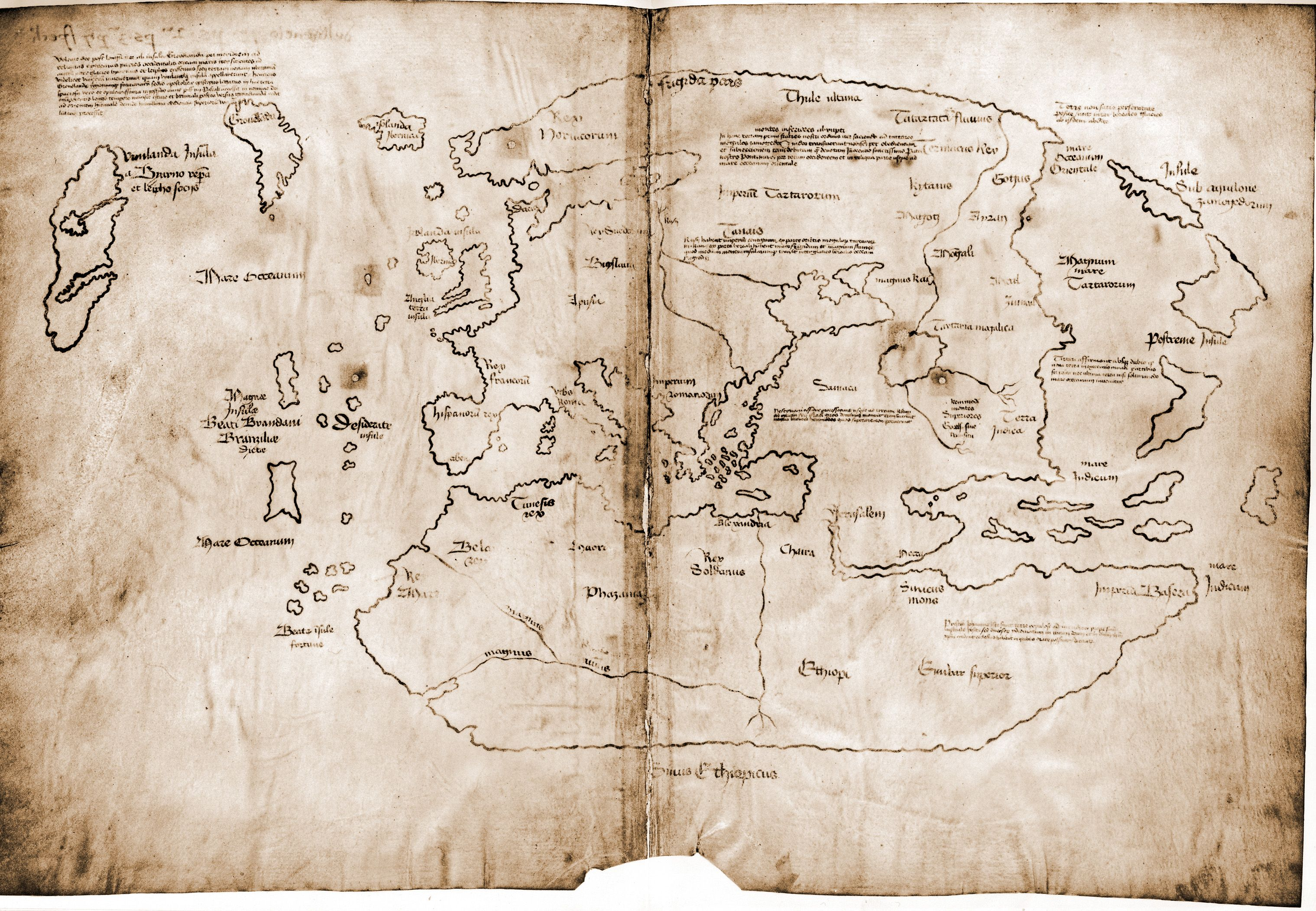 A viking map from the 1400s  presumably a copy of a map made in the     A viking map from the 1400s  presumably a copy of a map made in the 1300s    Vinland  is off at the top left corner