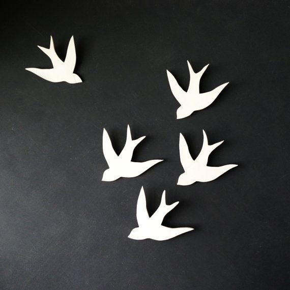 Wall Art Swallows In Flight White Porcelain Bird Wall Sculpture Modern  Ceramic Art For Home Decor Wall Decor Set Of 5