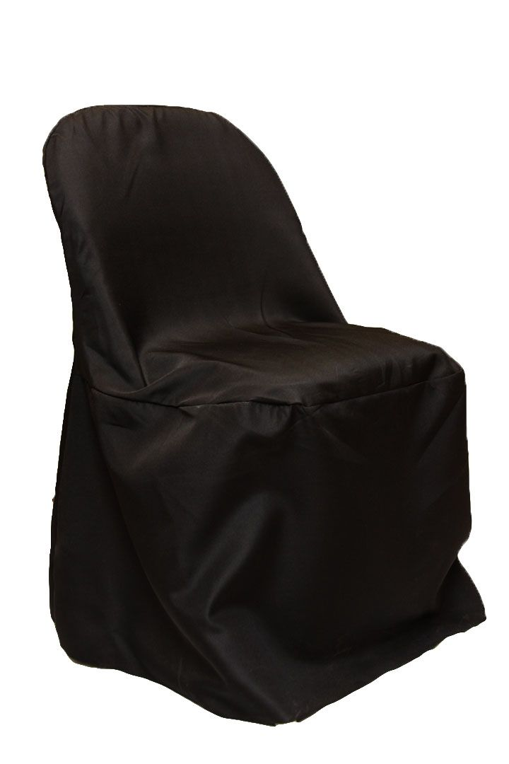 Economy Polyester Folding Chair Cover Black Everything