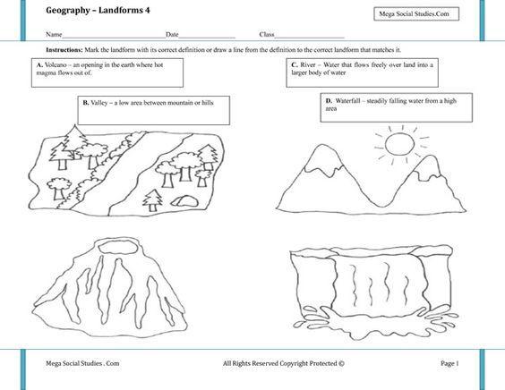Printable Landform Worksheets Landforms For Kids Volcano Geography For Kids Kindergarten Worksheets Landforms