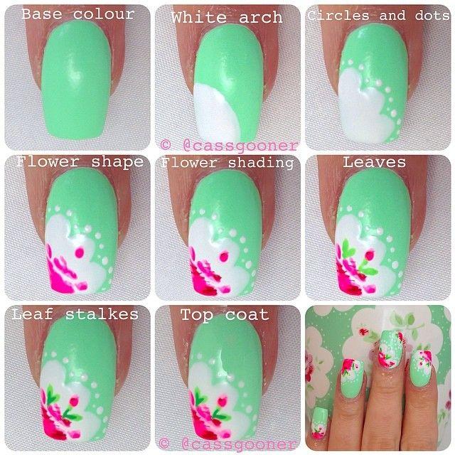 cassgooner - cath kidston flower tutorial #nail #nails #nailart ...