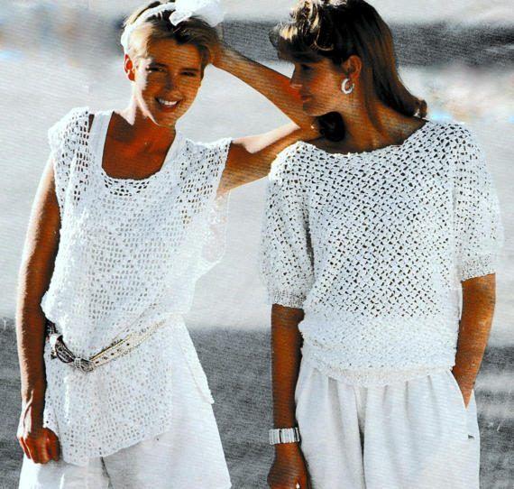 Vintage Crochet Pattern Summer Cotton Tops Shell T Shirt   Cosas que ...
