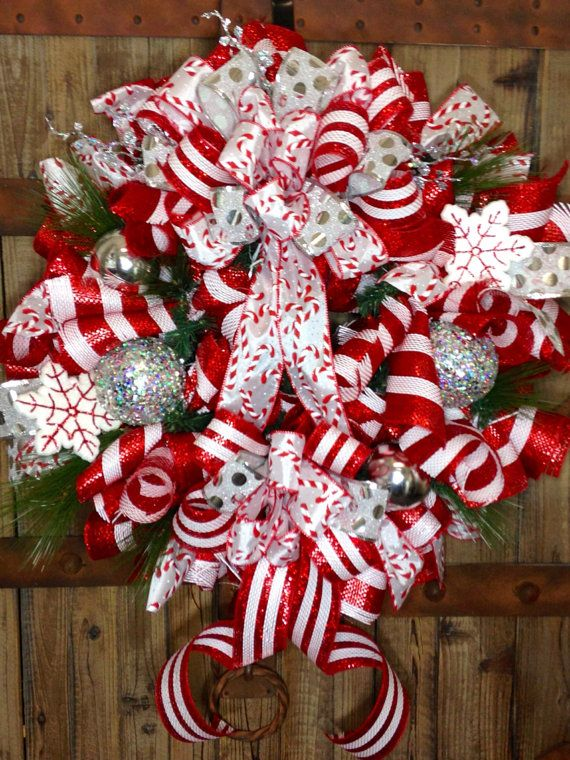 Surprising Candy Cane Mesh Wreath On Etsy 95 00 Christmas Mesh Door Handles Collection Olytizonderlifede