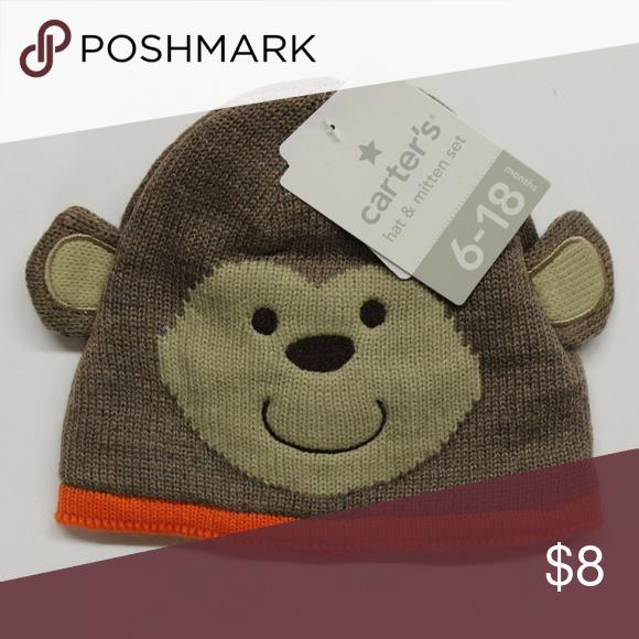 Carter's Baby Hat & Mitten Set - Brown Monkey