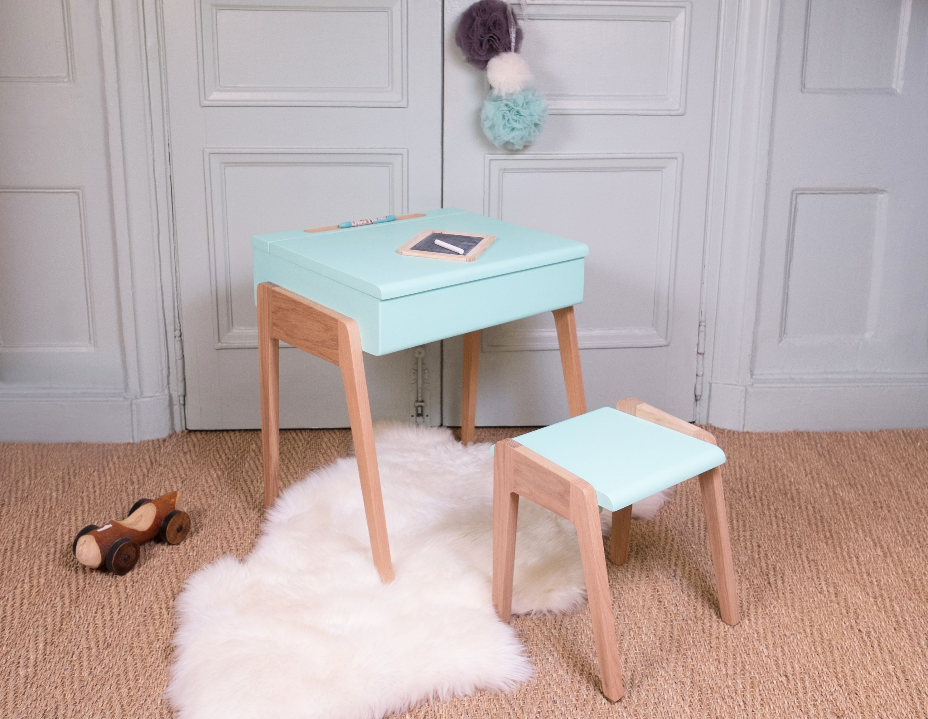 A Small Childs Style Office Desk With Soft Rounded Contemporary