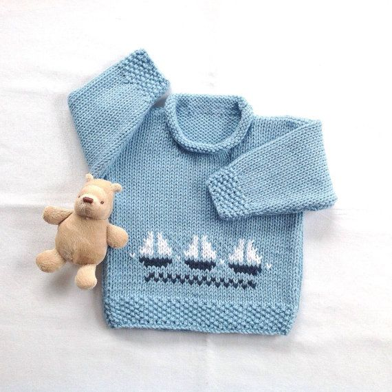 7853056cd Baby boy sweater - 6 to 12 months - Infant blue hand knit sweater ...