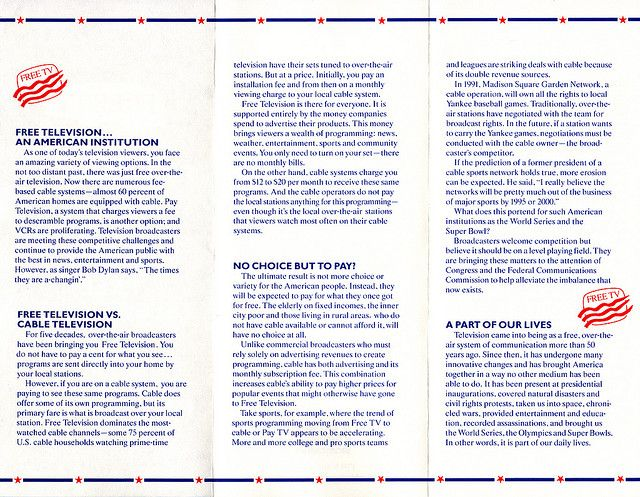 Free TV pamphlet from the National Association of Broadcasters - free pamphlet