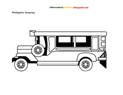 Free coloring page philippine jeepney school hints for Filipino coloring pages