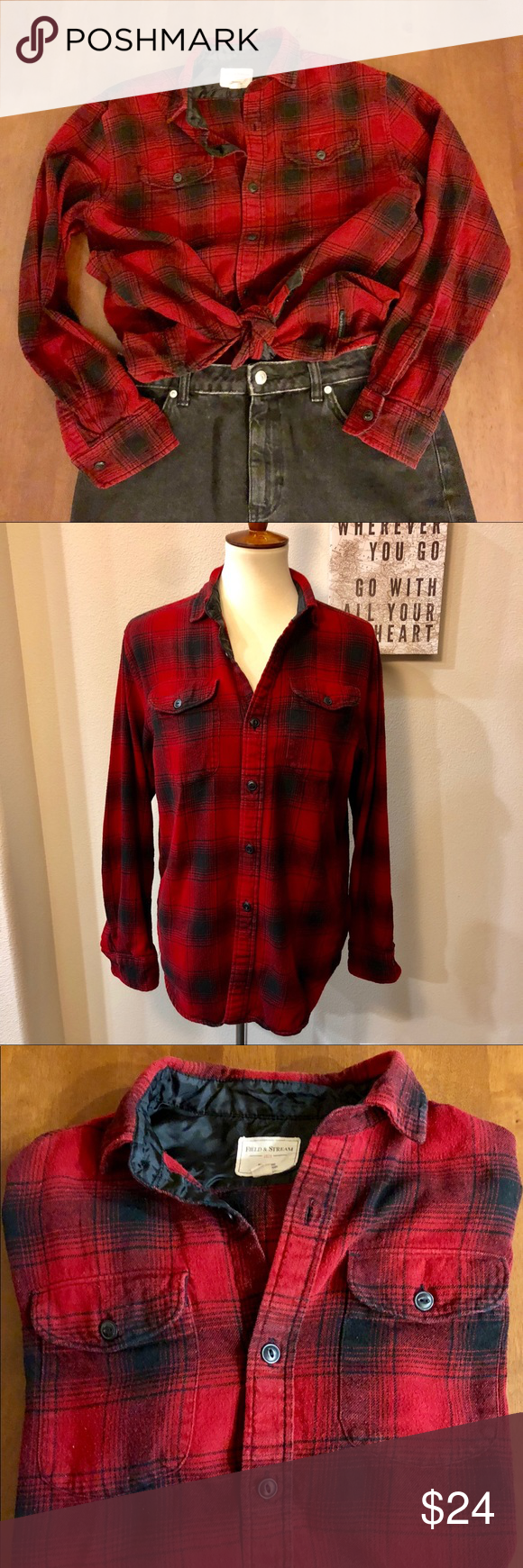 4768ffa70f3a4 Plaid Red and Black Flannel Women s Medium Great holiday flannel in  excellent condition. Warm
