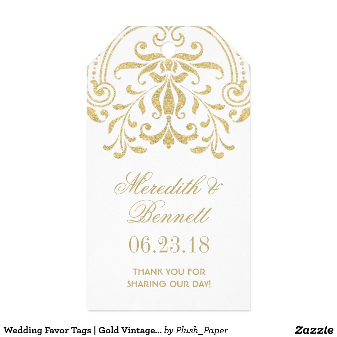 Wedding Favor Tags | Gold Vintage Glamour | Wedding favor tags ...