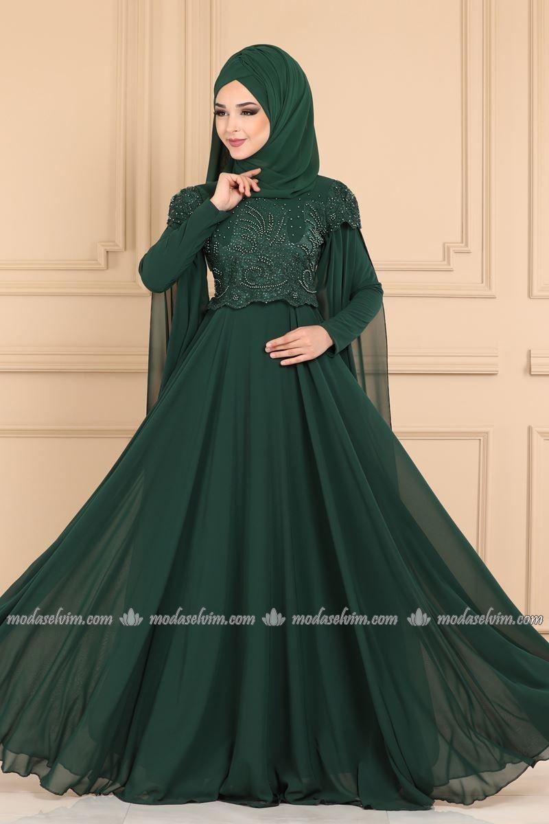 Kolu Pelerinli Tesettur Abiye 2051pn204 Zumrut Moda Selvim Victorian Elbiseler Moda Stilleri Moda