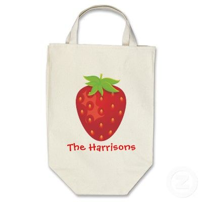 personalized strawberry grocery bag