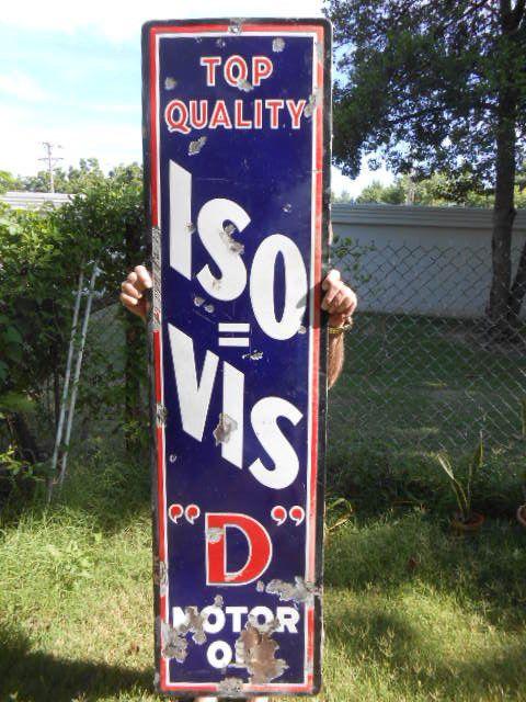 "Vintage Sign Iso=Vis ""D"" Motor Oil Porcelain ca.1930 60x15 3/4"" Pat No. 1951325 #IsoVis"