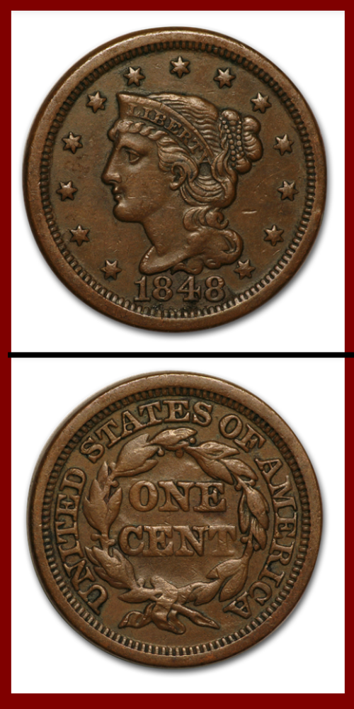 1848 Large Copper Penny Coin Prices Coin Values Coins For Sale