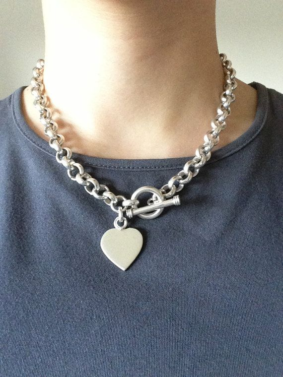 Vintage Tiffany Style Sterling Toggle Clasp Heart Pendant Choker Necklace Chunky Chain Necklace No Monogram Chunky Chain Necklaces Chain Necklace Jewelry