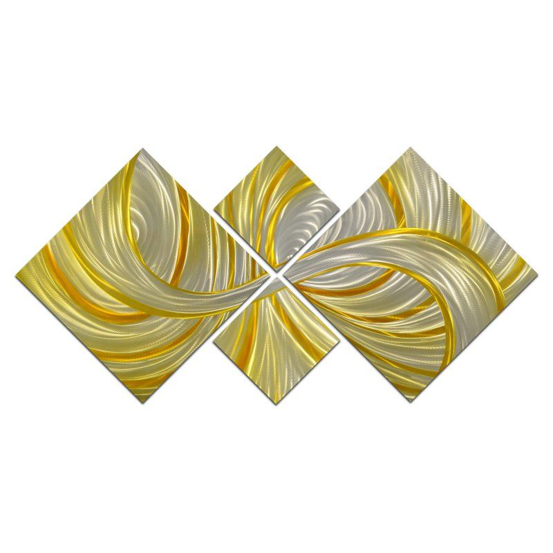 OMAX Deceptive Golden Curls Handmade Modern Metal Wall Art - Set of ...