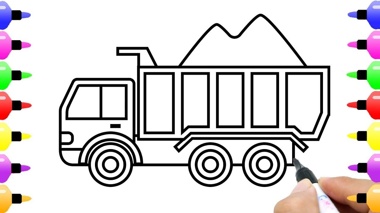 How to Draw Loaded Dump Truck Drawing and Coloring Pages for ...
