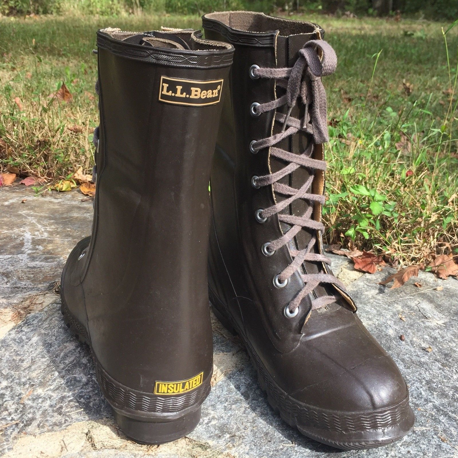 LL Bean Mens Rubber Boots Steel Shank Insulated Foot Size