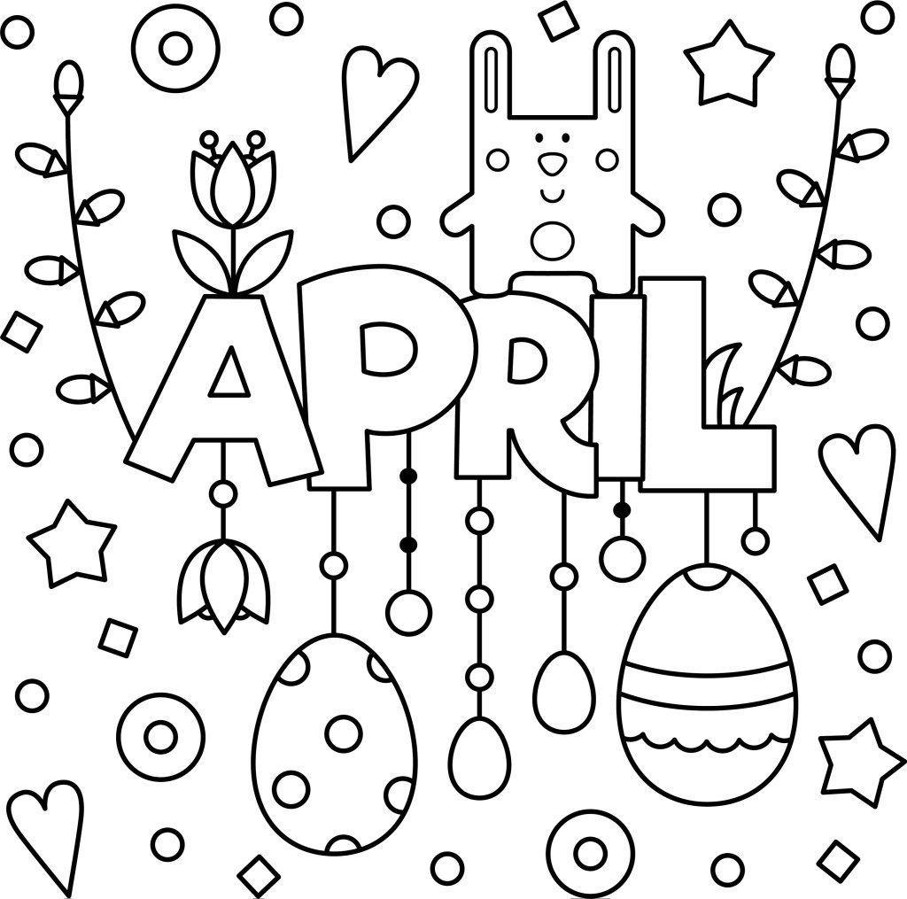 Welcome April Colouring Page Printable Spring Coloring Pages