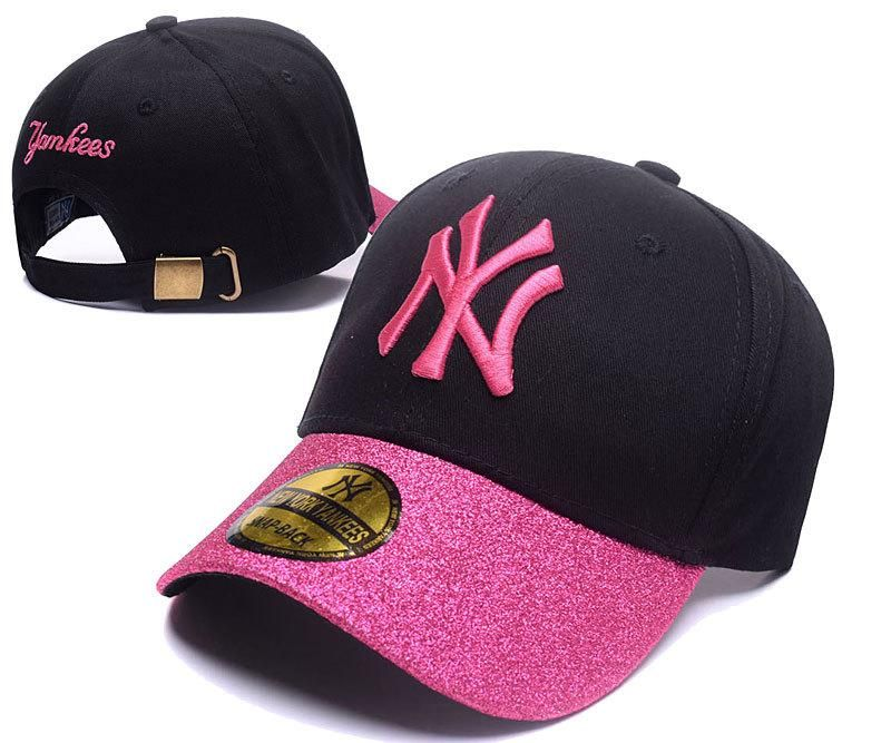 Men S Women S New York Yankees Pink Shimmer Shine Brim Baseball Adjustable Hat Black Pink Adjustable Hat Black Pink New York Yankees