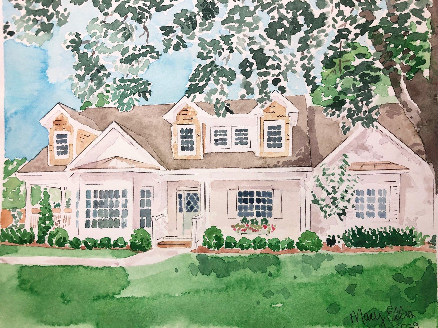 Custom Watercolor House Portrait In 2020 Watercolor Portraits