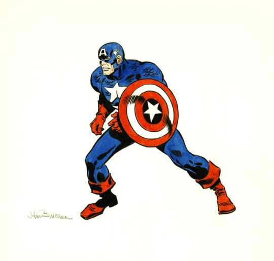 John buscema captain america illustration original art undated
