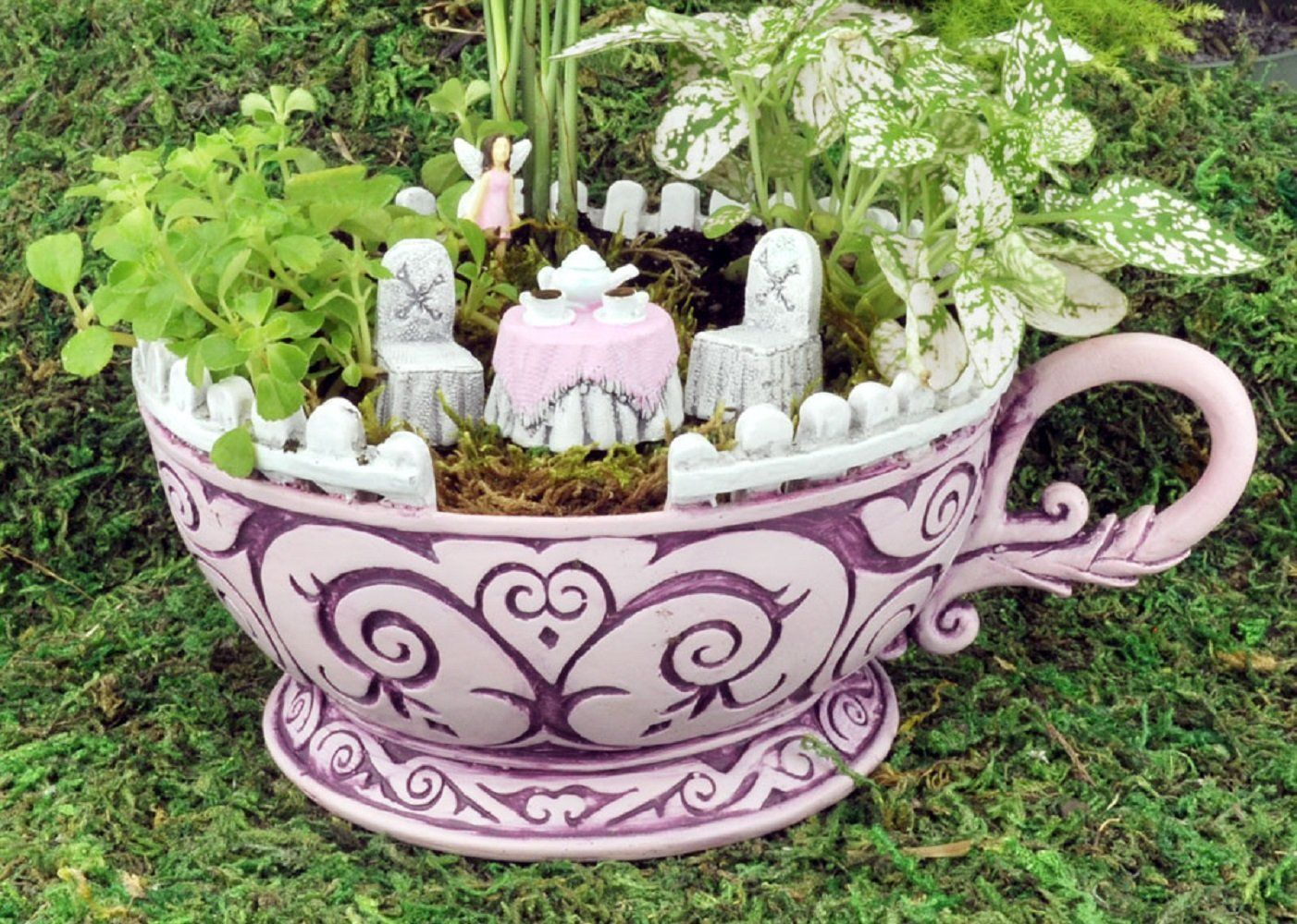 Lovely Georgetown Home And Garden Fairy #17 - Amazon.com: Georgetown Home U0026 Garden, Fiddlehead Fairy Garden, Pink Teacup  Planter